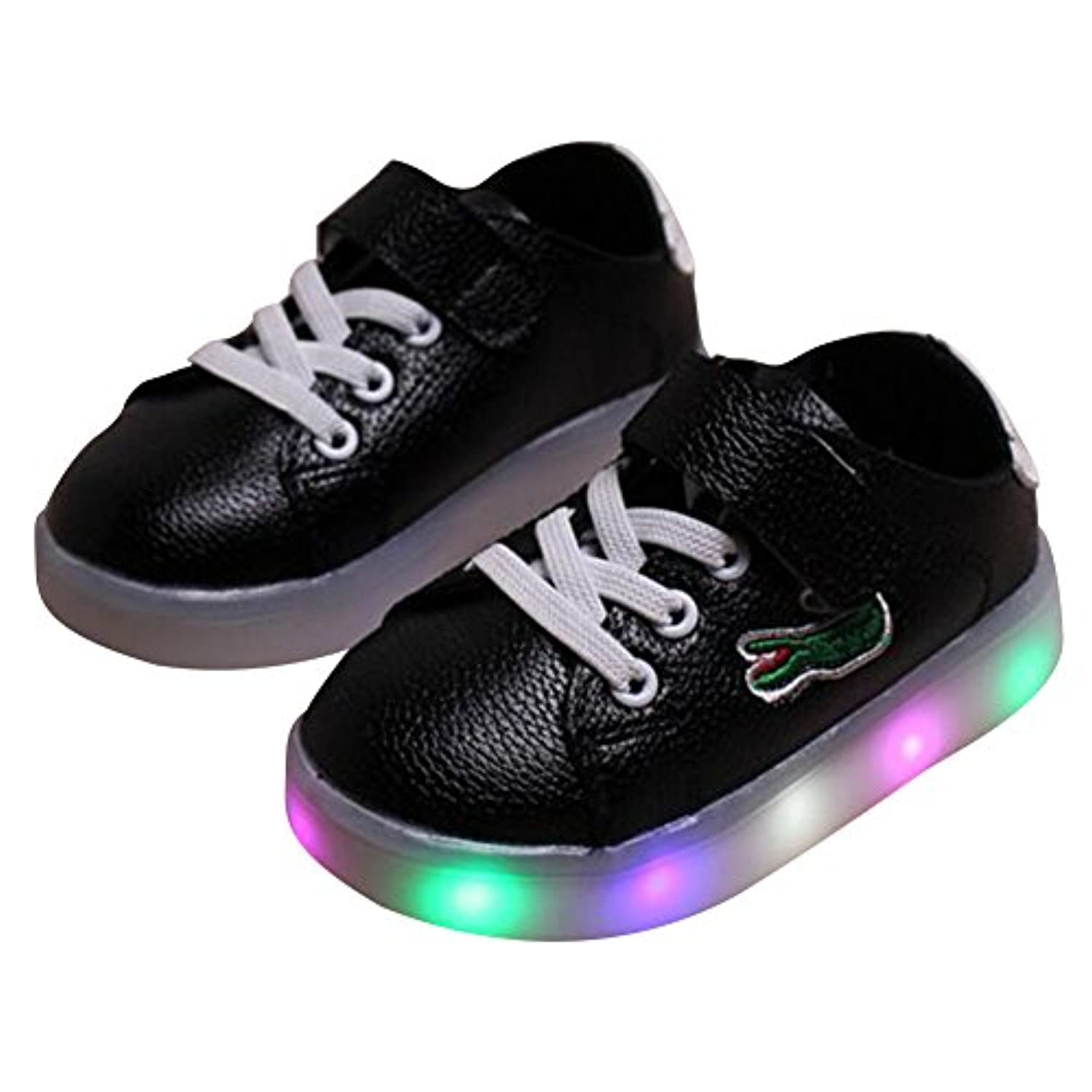 Highdas Boys Girls LED Shoes Cute Crocodile Anti Slip Light Up Sneakers Black Size 21
