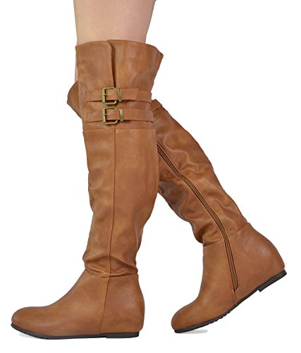 DREAM PAIRS Damenmode Casual Overknee Pull On Slouchy Boots Kamel-Pu