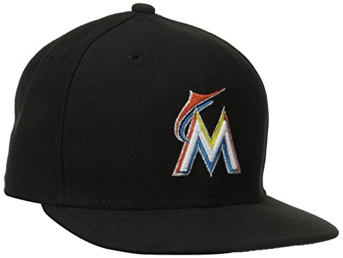 MLB Miami Marlins Home Youth AC On Field 59Fifty Fitted Cap, Black, 6 (Black 59fifty Youth Fitted Cap)