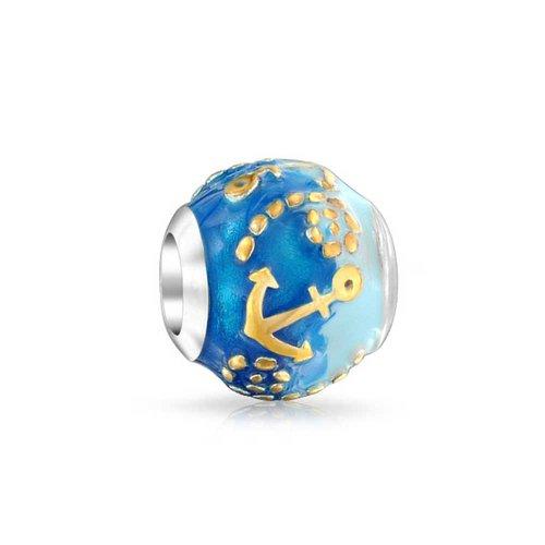 Bling Jewelry 925 Silver Two Tone Nautical Anchor Blue Ocean Bead (Ocean Bead)