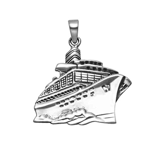 Sterling Silver Steaming Cruise Ship Pendant