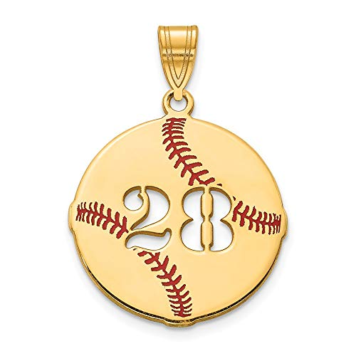 (Roy Rose Jewelry Personalized Custom Sport Player Number on Baseball Pendant Solid 10K Yellow Gold)