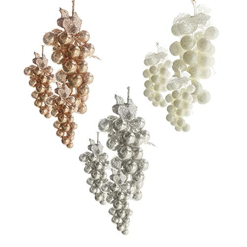 Homeford PVC Glittered Grape Cluster Ornaments, Ivory/Rose Gold, Assorted Sizes, 9-Piece
