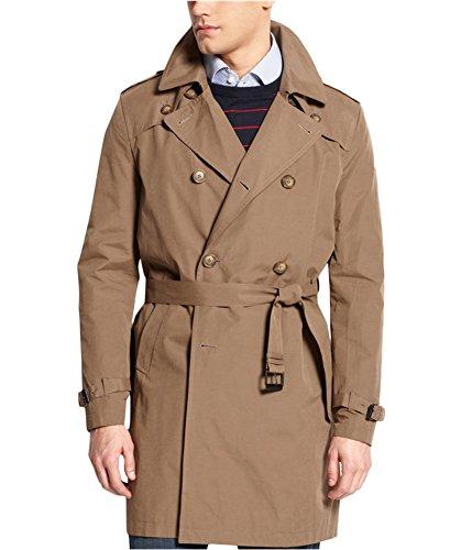 Tommy Hilfiger Men's Felix Belted Trench Coat, Olive, 38 Regular