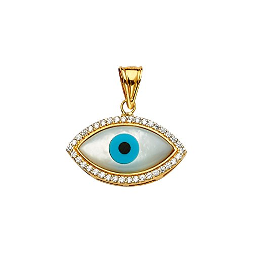 Sonia Jewels 14k Yellow And White Gold Mop Cubic Zirconia CZ Evil Eye Pendant 20mm X 20mm ()