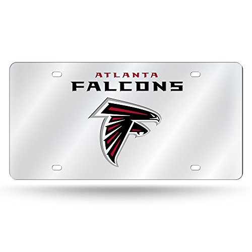 Rico Industries NFL Atlanta Falcons Laser Inlaid Metal License Plate Tag, Silver
