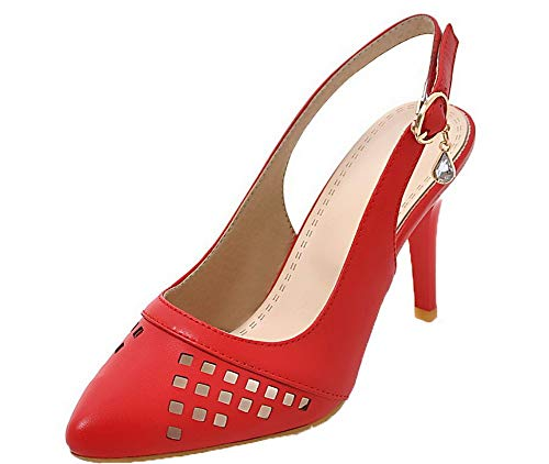 Sandales Fermeture Unie AgooLar Talon Femme GMBLB014677 Couleur d'orteil à Haut Rouge Boucle SqzwO6w