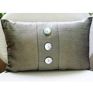 Designer Grey Lumbar Pillow Cover, Mother Of Pearls Lumbar Pillow Cover, 12 x14 Lumbar Pillow Cover, Rectangle Silk Lumbar Pillow Cover, Solid Contemporary Lumbar Pillow Cover -Silk N Pearls