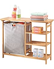 mDesign Tvättkorgsenhet – tvättkorg med utdragbar väska – enhet med integrerade förvaringshyllor för tvätt och badrumstillbehör – naturlig bambu