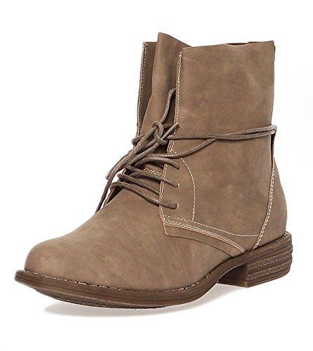 Damen Boots Stiefeletten Schuhe Schnürer 166 (36, Stone)