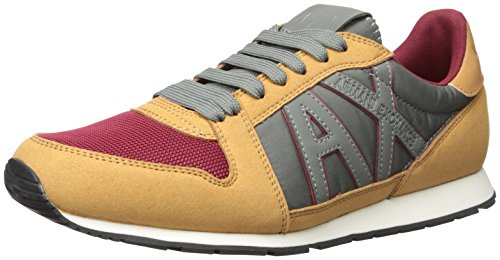 A|X Armani Exchange Mens Retro Running Sneaker Fashion Sneaker Camel Tan/Rhubarb
