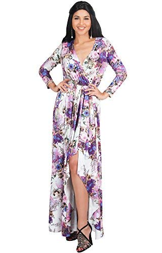 KOH KOH Womens Long Sleeve Casual Elegant Floral Print Wrap Slit Gown Maxi Dress