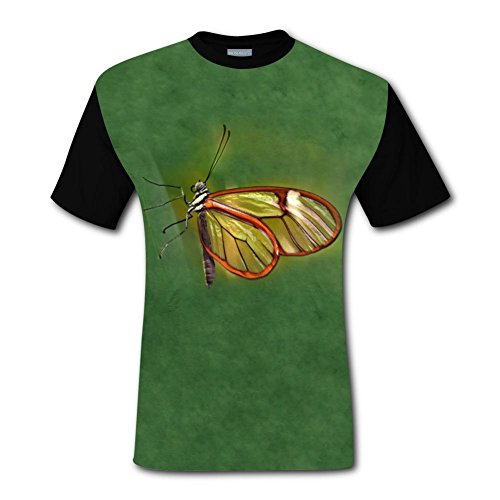 100% Cotton New 2018 Style Tee Shirt 3D Printed With Golden Butterfly For Men M