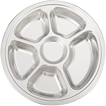 Aspire Reusable Lunch Tray Dinner Plate for Cafeteria, Stainless Steel, Round, 1 Pc-6 Sections