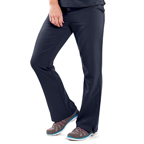 ave Women's Medical Scrub Pants, Melrose ave, Bootcut Style, Drawstring and Elastic Waist, Great for Nurses, Navy, X-Small