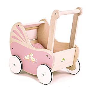 Tender Leaf Toys Sweetie Pie Dolly Pram Stroller – Classic Vintage Doll Rolling Buggy Accessory – Social, Creative…