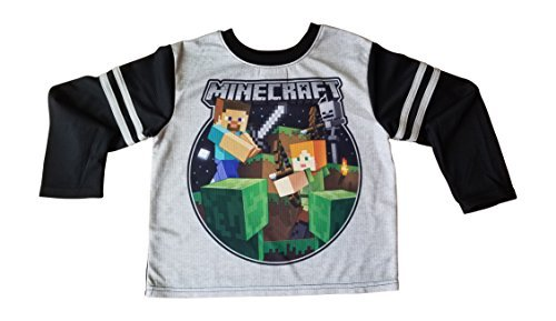 Mojang Minecraft Steve Alex Skeleton Pajamas for Boys with Long Sleeves Fleece Pants XL