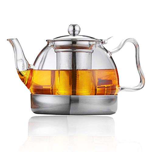 Hwagui - Best Heat Resistant Glass Teapot With Removable Infuser For Blooming And Loose Leaf Tea, Stove Top Safe Tea Pot -