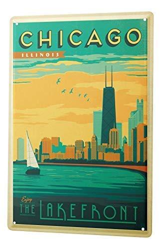 qidushop Deco City Chicago Skyline Sailboat River Side Retro ...