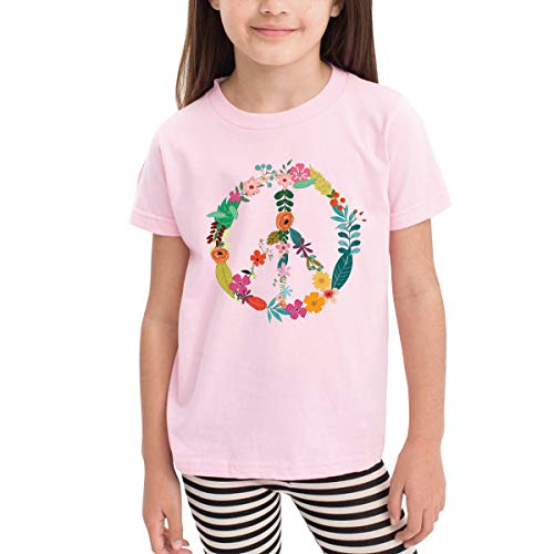 SKYAKLJA Peace Sign Flower Children's Cotton Pink Short Sleeve T-Shirt for Girl