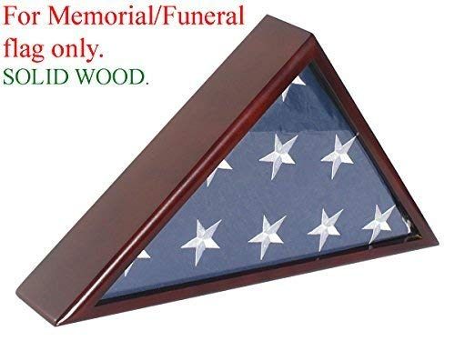 (Solid Wood Memorial Flag Display Case Frame for 5x9.5' Flag Folded. for Funeral or Burial Flag (with No)