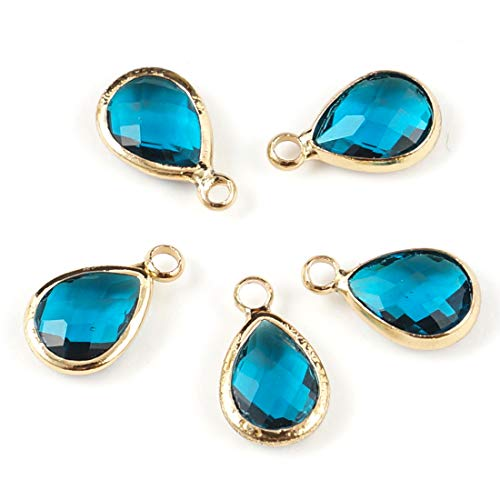 10pcs December Blue Zircon Birthstone Charms 11x7mm Teardrop Crystal Beads Gold Plated Brass for Jewelry Craft Making CCP14-12