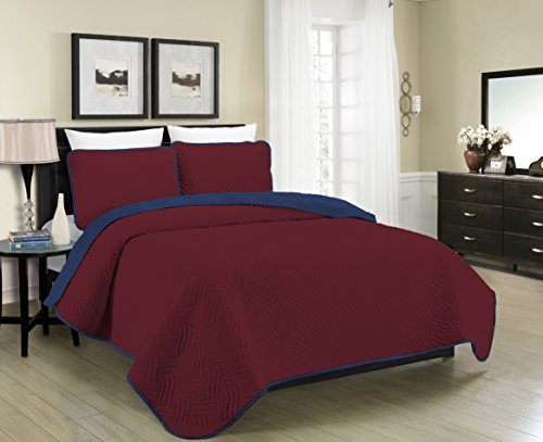 Blissful Living Reversible Luxury Pinsonic Solid Quilt Set Including Shams – Lightweight and Soft for All Year Round Comfort, Available in Twin, Full / Queen and King Size (Burgundy/Navy, Full/Queen) (Sets Bed Cheap Comforters)