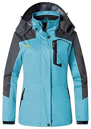 Wantdo Women's Casual Sportswear Rain Jacket Hooded Waterproof Raincoat(Blue,Small)