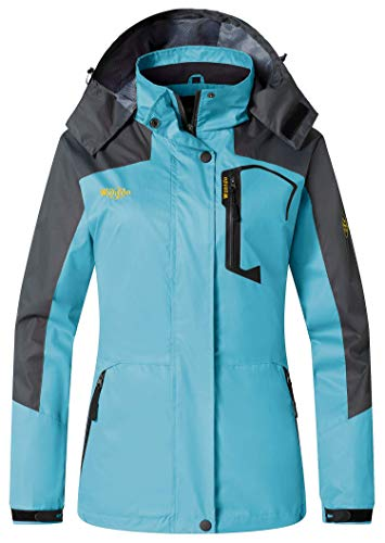 Waterproof Womens Jacket Breathable (Wantdo Women's Hooded Breathable Soft Jacket Water Resistant Spring Jacket Blue US L)