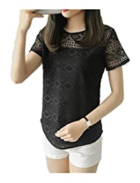 Comvison Women Short Sleeve Mesh Top Black White Tops Hollow Out Lace Blouse