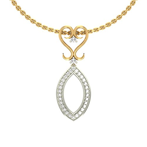 14 K Or jaune 0,14 CT TW Round-cut-diamond (IJ | SI) diamant Pendentif