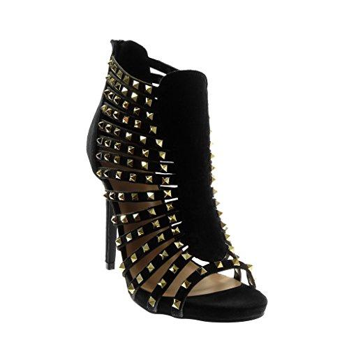 Haut Stiletto Aiguille Cm Femme Doré Noir Talon Mode Angkorly Montante Escarpin 11 Multi Clouté Sandale 5 Spartiates Chaussure bride IABCwqO