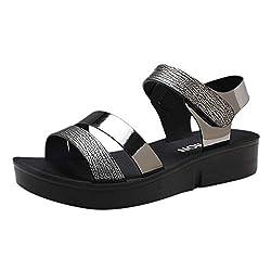 Ipogp Women Ladies Summer Fashion Sandals Flat Adjustable Strap Breathable Comfort Casual Velcro Soft Bottom Shoes Black 35
