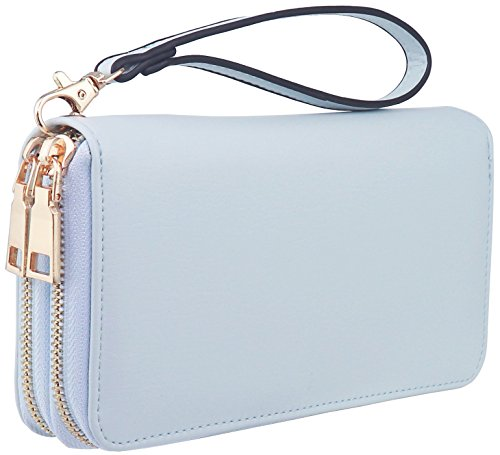 B BRENTANO Vegan Double-Zipper Wallet Clutch with Removable Wrist Strap (Logo - Blue)