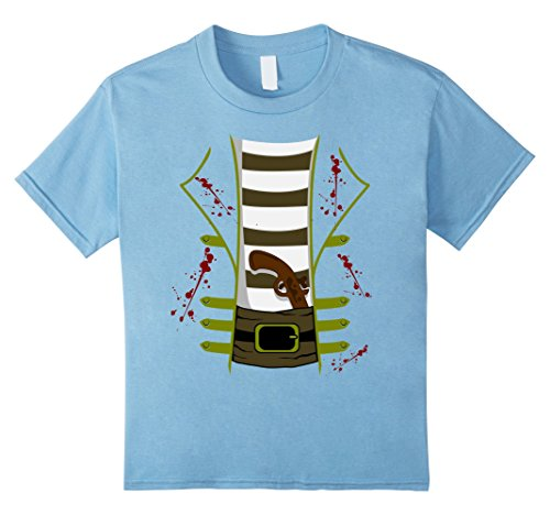 Kids Bloody or Zombie Pirate With Gun Halloween Costume T-shirt 6 Baby Blue