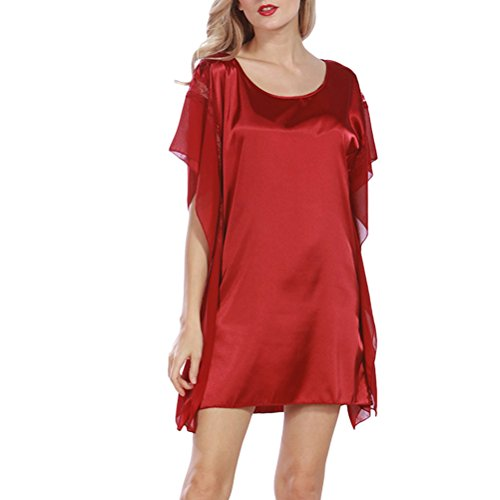 Zhhlaixing Fashion Silk Bridesmaid Bride Robe Women Short Satin Wedding Kimono Robes Sleepwear Nightgown Dress Woman Bathrobe Pajamas 2109# Wine Red