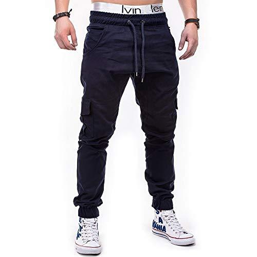 Vita Uomo Casual Bozevon Blu Coulisse Navy Pantaloni Con Da Per Lunghi qZnwC0OU