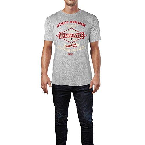 Sinus Art ® Herren T Shirt Authentic Denim Brand ( Heather_Grey ) Crewneck Tee with Frontartwork