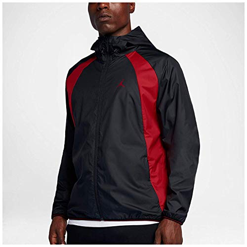 (Jordan Men's Air Nike Wings Windbreaker Jacket Black/Red (X-Large))