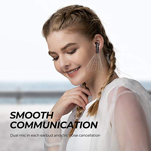 SoundPEATS Wireless Earbuds Bluetooth V5.2 Headphones with Qualcomm QCC3040 Wireless Earphones, TrueWireless Mirroring, 4-Mic Tech and cVc 8.0 Noise Cancellation, aptX Codec, Total 25 Hours - TrueAir2