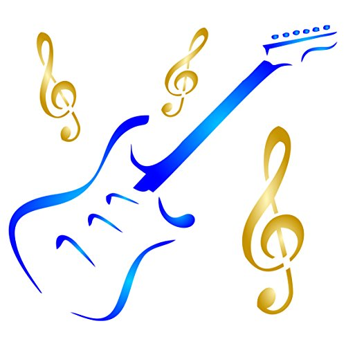 Guitar Stencil - 8.5 x 8 inch (L) - Reusable Musical Instrument Treble Clef Music Stencils for Painting - Use on Paper Projects Scrapbook Journal Walls Floors Fabric Furniture Glass Wood etc.