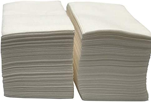 Restaurants Absorbent Home Weddings Parties Cloth-Like Hand Napkins 200ct MBM Abundance Luxury Linen Feel Disposable Guest Towels Soft Pre-Folded in Solid White for Bathroom Kitchen