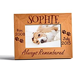 Personalized Pet Memorial Alder Wood Photo Frame Always Remembered Custom Urn 4x6 Horizontal