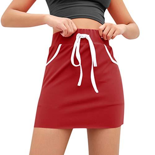 (Women's Drawstring Pockets Girls Sparkle Letter Print Hip Skirt,Red,S)