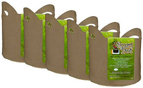 Smart Pot Soft-Sided Fabric Garden Plant Container Aeration Planter Pots Tan with Cut Handles, 3 gallon, 5 Pack