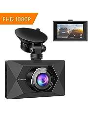 Crosstour Dash Cam - Mini 1080P FHD In Car Camera -170° Wide Angle - 3 Inch LCD Screen - G-sensor