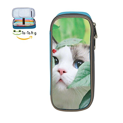 Custom White Cat Face Pencil Case - Big Capacity Double Zipper Multifunctional blue Stationery Bag For Kids (Mime Artist Makeup Halloween)