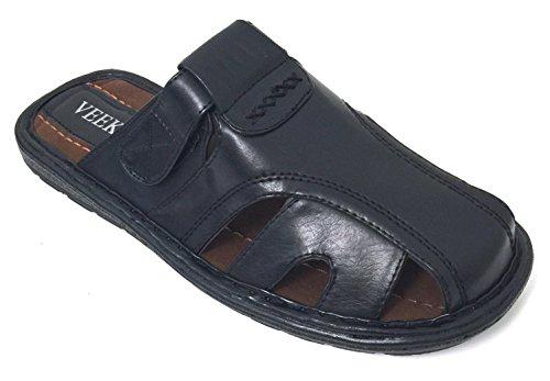 (G4U-CTS Men's Sandals Adjustable Strap Closed Toe Slide Casual Fisherman Summer Flip Flops Shoes (7 D(M) US, Black-097))
