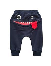❤️Gmgod❤️❤️Baby Children Kids Boys Girls Cartoon Shark Tongue Harem Pants Trousers Pants White