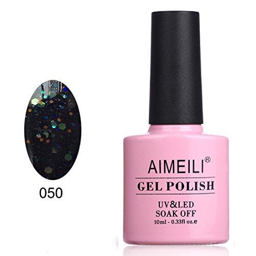 AIMEILI Soak Off UV LED Gel Nail Polish - Black Diamond Glitter (050) 10ml